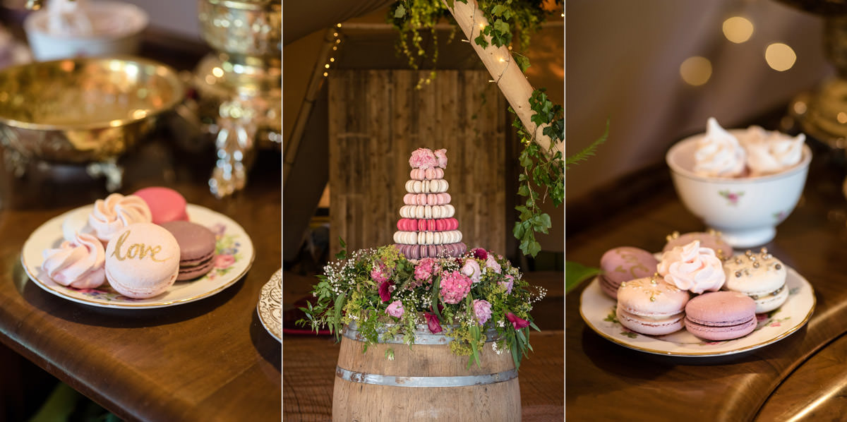 A macaron tower at a tipi wedding at Pipewell Hall