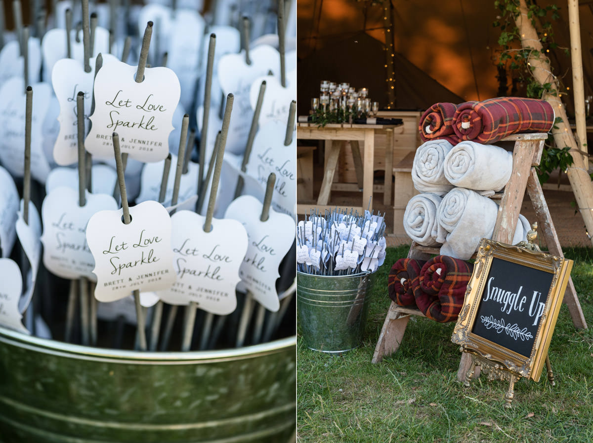 Blankets and sparkler ideas for a tipi wedding at Pipewell Hall