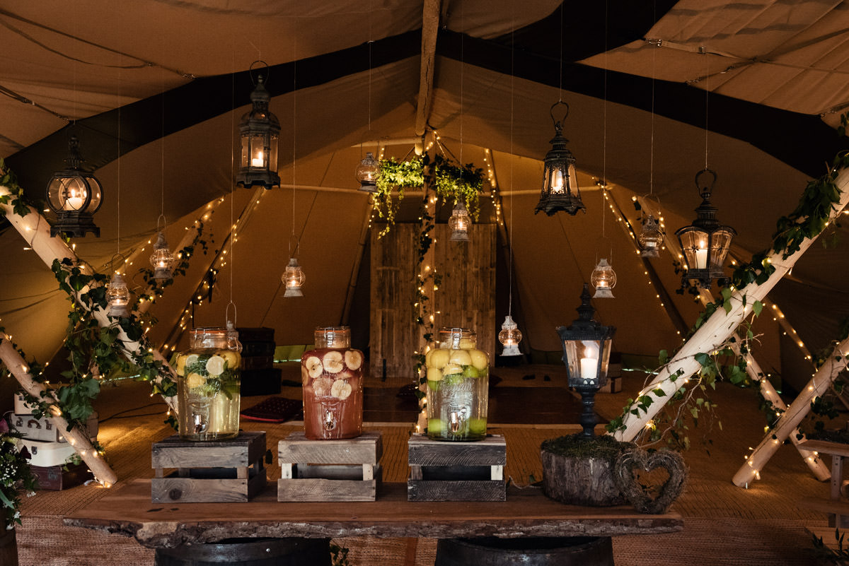Lighting ideas with lanterns for a tipi wedding at Pipewell Hall