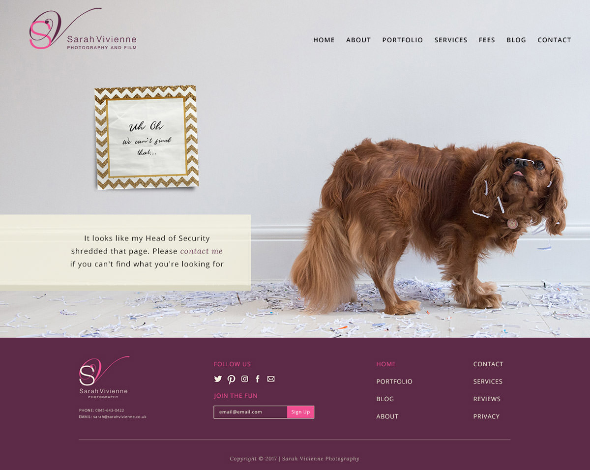 Funny 404 error page with a dog