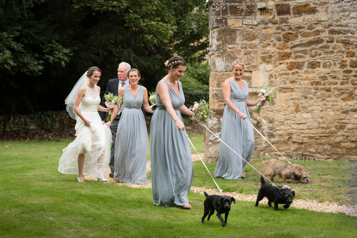 Dog flower girls arriving for a wedding at Maidwell church in Northampton