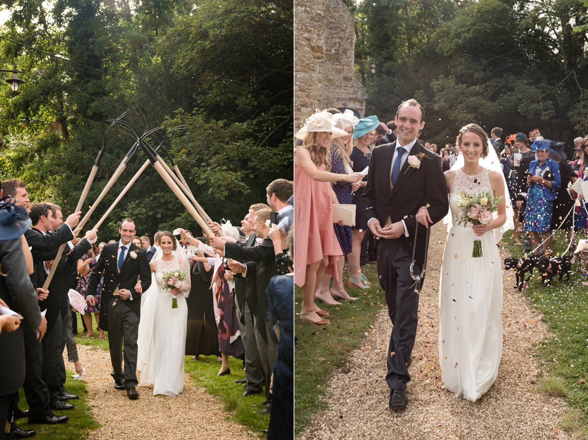 Bride & Groom with a pitchfork guard of honour at Maidwell church in Northampton