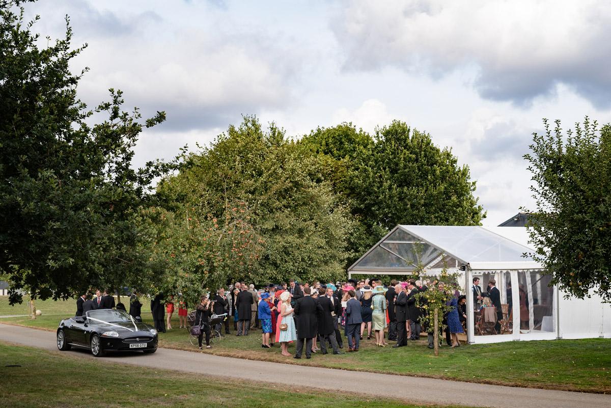 A marquee wedding reception on a farm