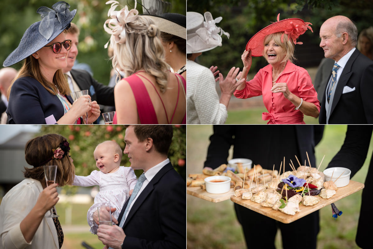 A montage of wedding drinks reception photos