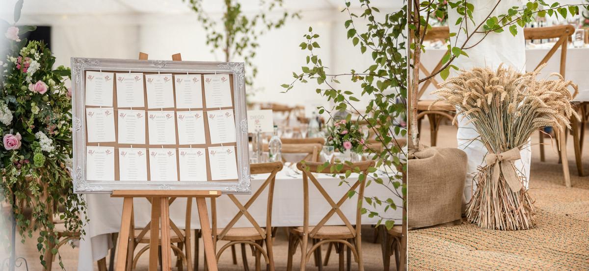 A rustic table plan & corn decorations for a farm wedding