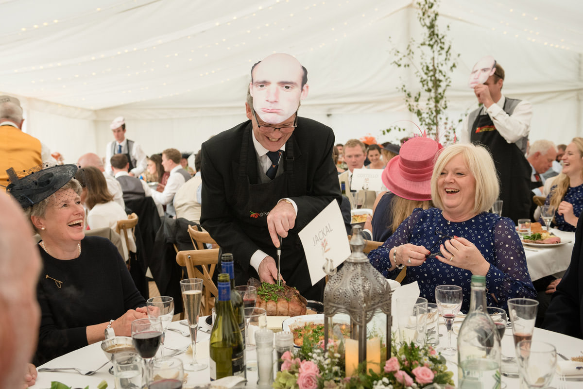 Nominated carvers for dinner at a marquee wedding