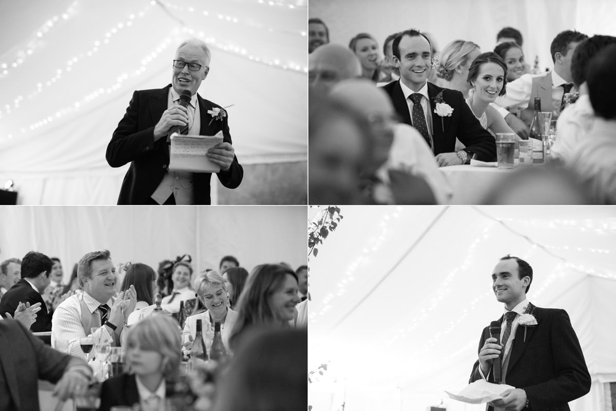 Wedding speeches in a marquee