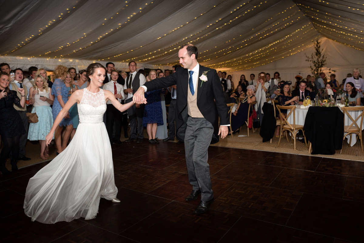 Bride and Groom's first dance in a marquee