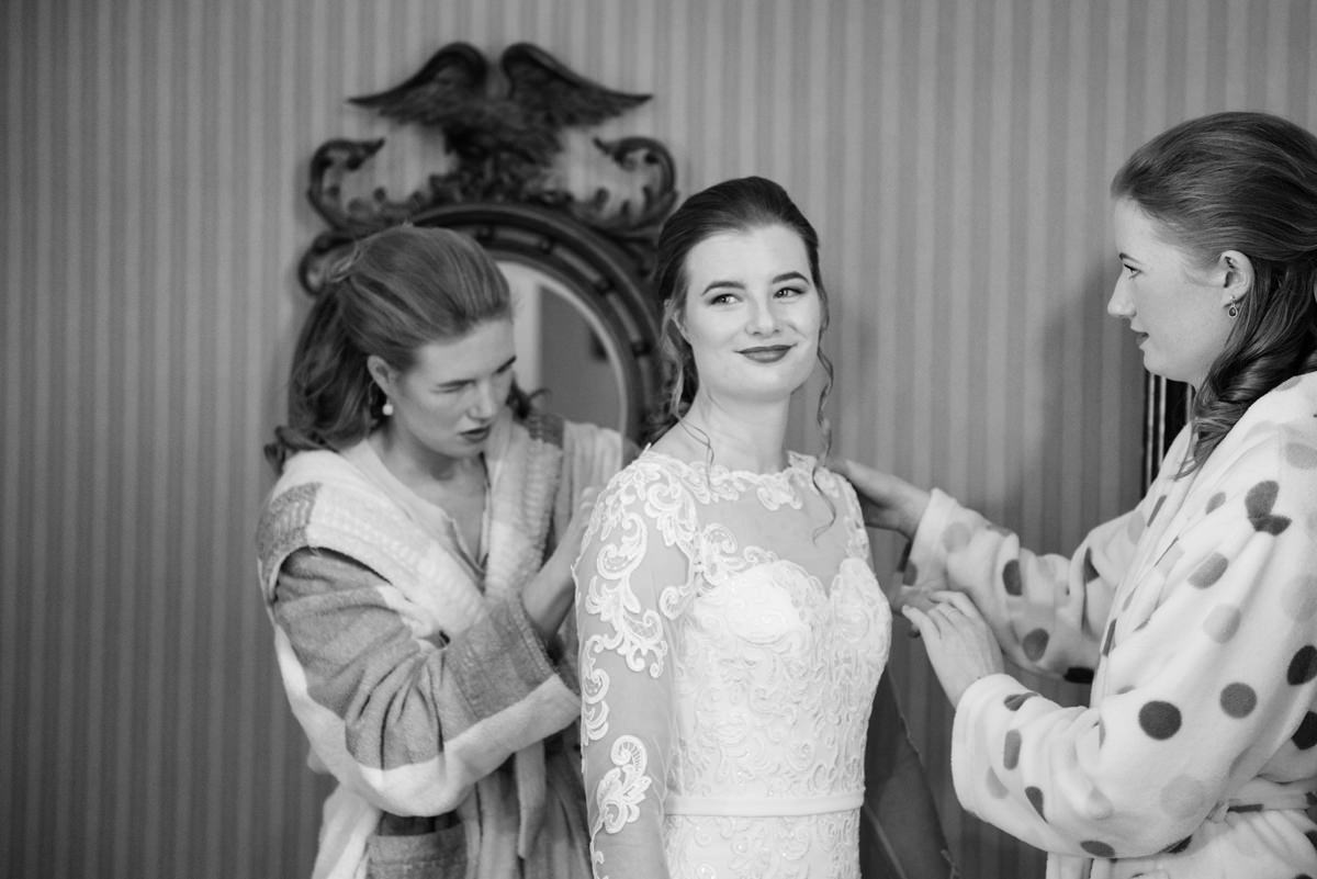 Bride getting ready at home in Swavesey