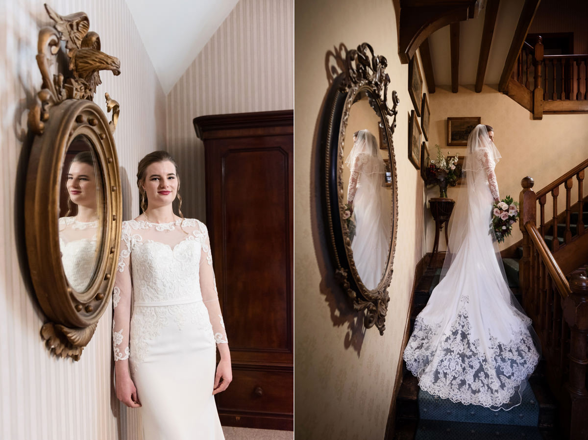 Bridal portraits on a staircase