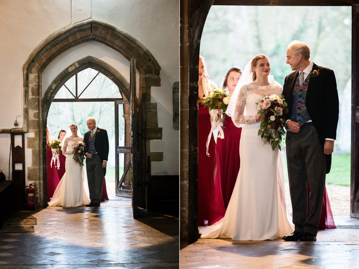 Bride and her Dad about to walk down the aisle at St Andrew's church in Swavesey