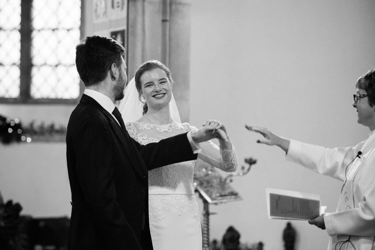 Bride and groom pronounced husband and wife at St Andrew's church in Swavesey
