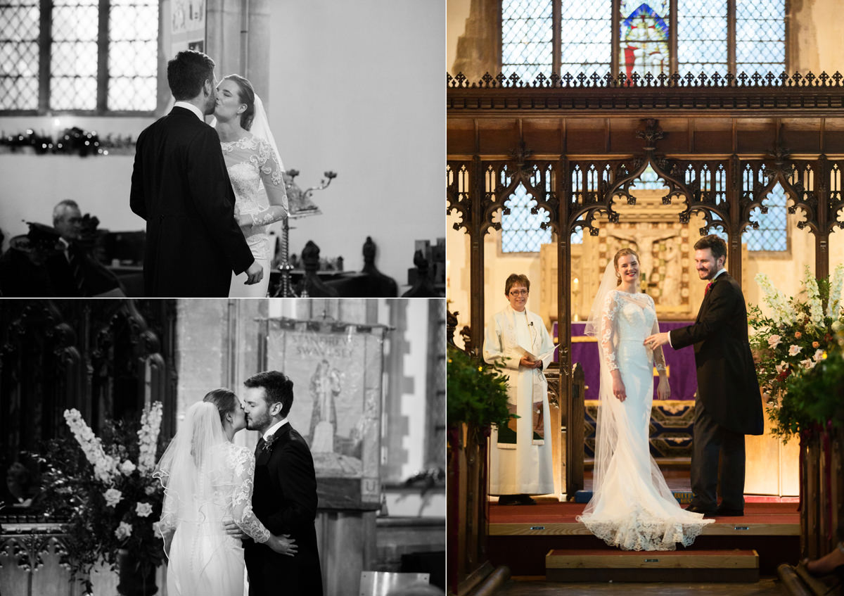 Bride and groom's first kiss at St Andrew's church in Swavesey, Cambridge