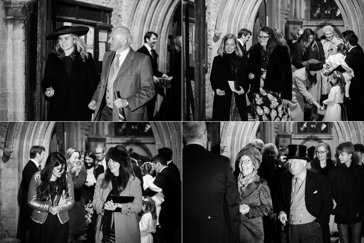 Wedding guests leaving St Andrew's church in Swavesey, Cambridge