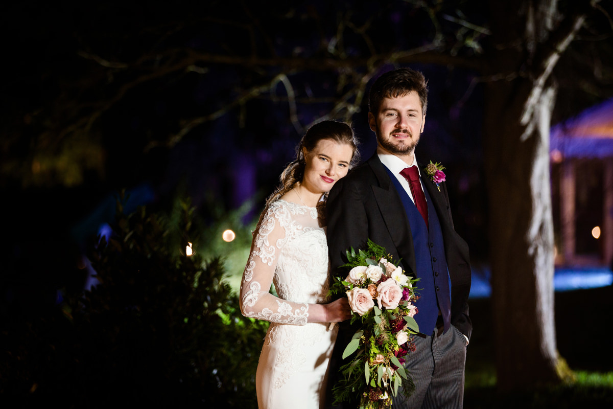 A winter portrait of the bride and groom in Swavesey, Cambridge