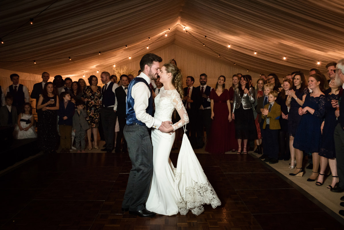 Bride and groom's first dance at their wedding in Swavesey, Cambridge