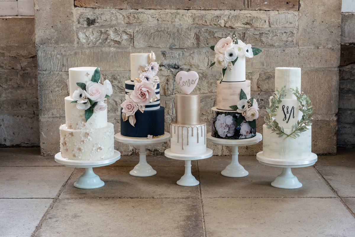 Examples of modern elegant wedding cakes by Couture Cakes in Northampton