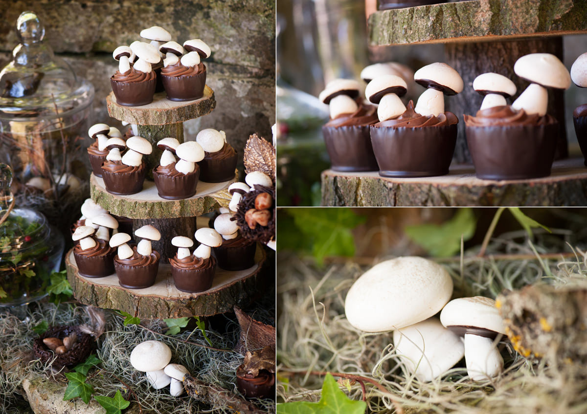 Woodland themed chocolate wedding cup cakes with meringue mushrooms on top by Couture Cakes