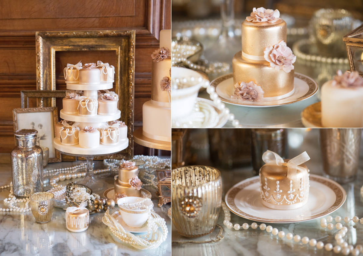 Miniature gold wedding cakes for a Great Gatsby theme wedding by Couture Cakes