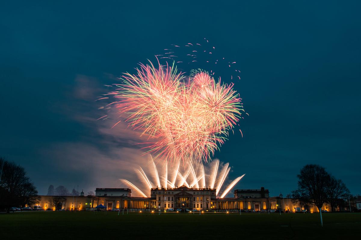 Wedding fireworks at Stowe School