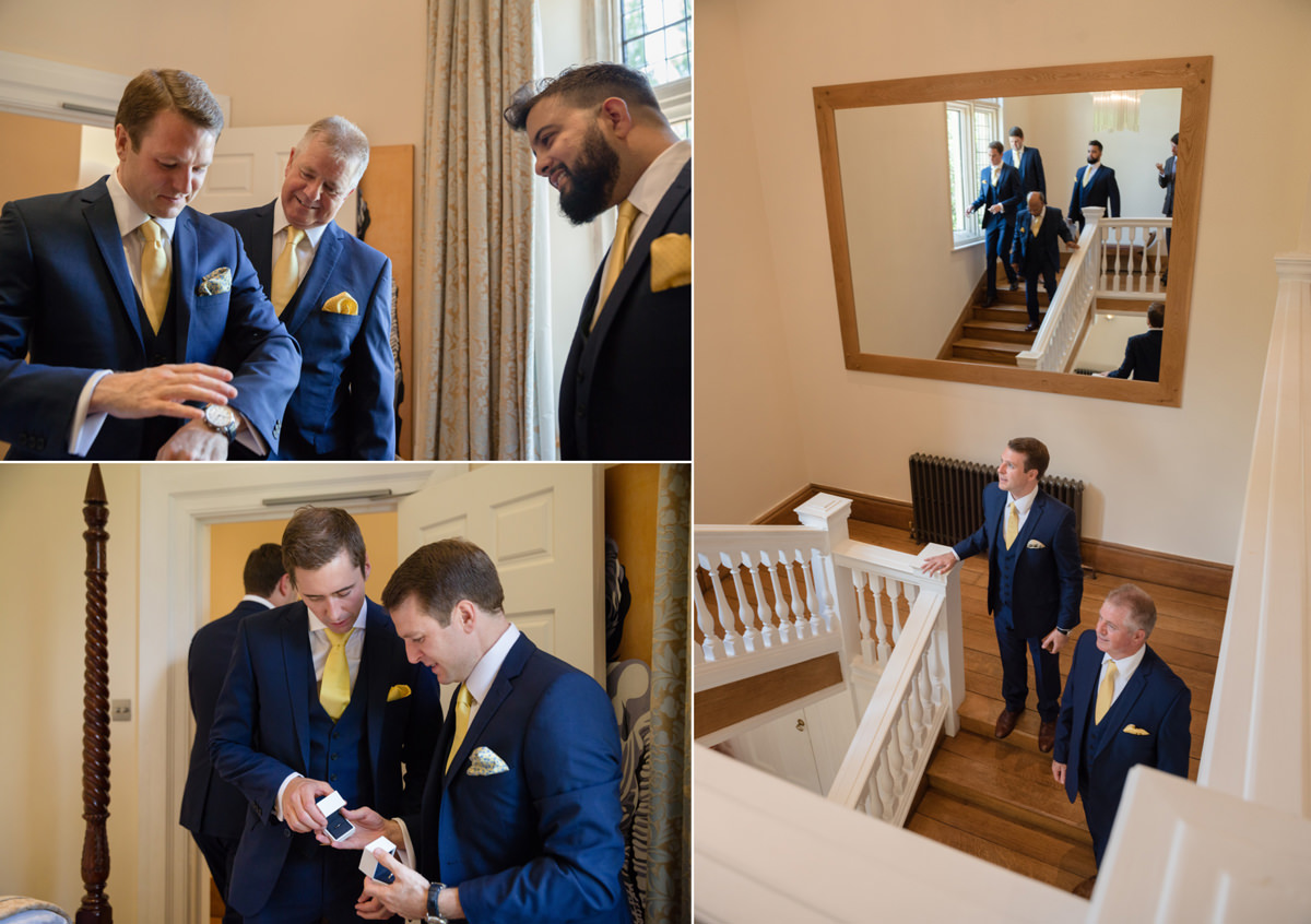 Groomsmen getting ready for the ceremony at Notley Abbey