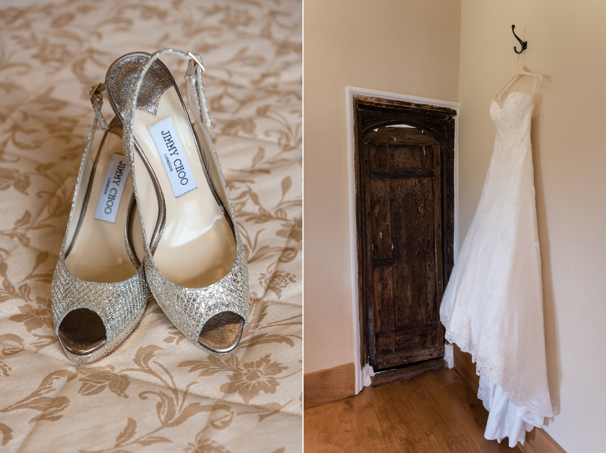Bride;'s dress and shoes at Notley Abbey