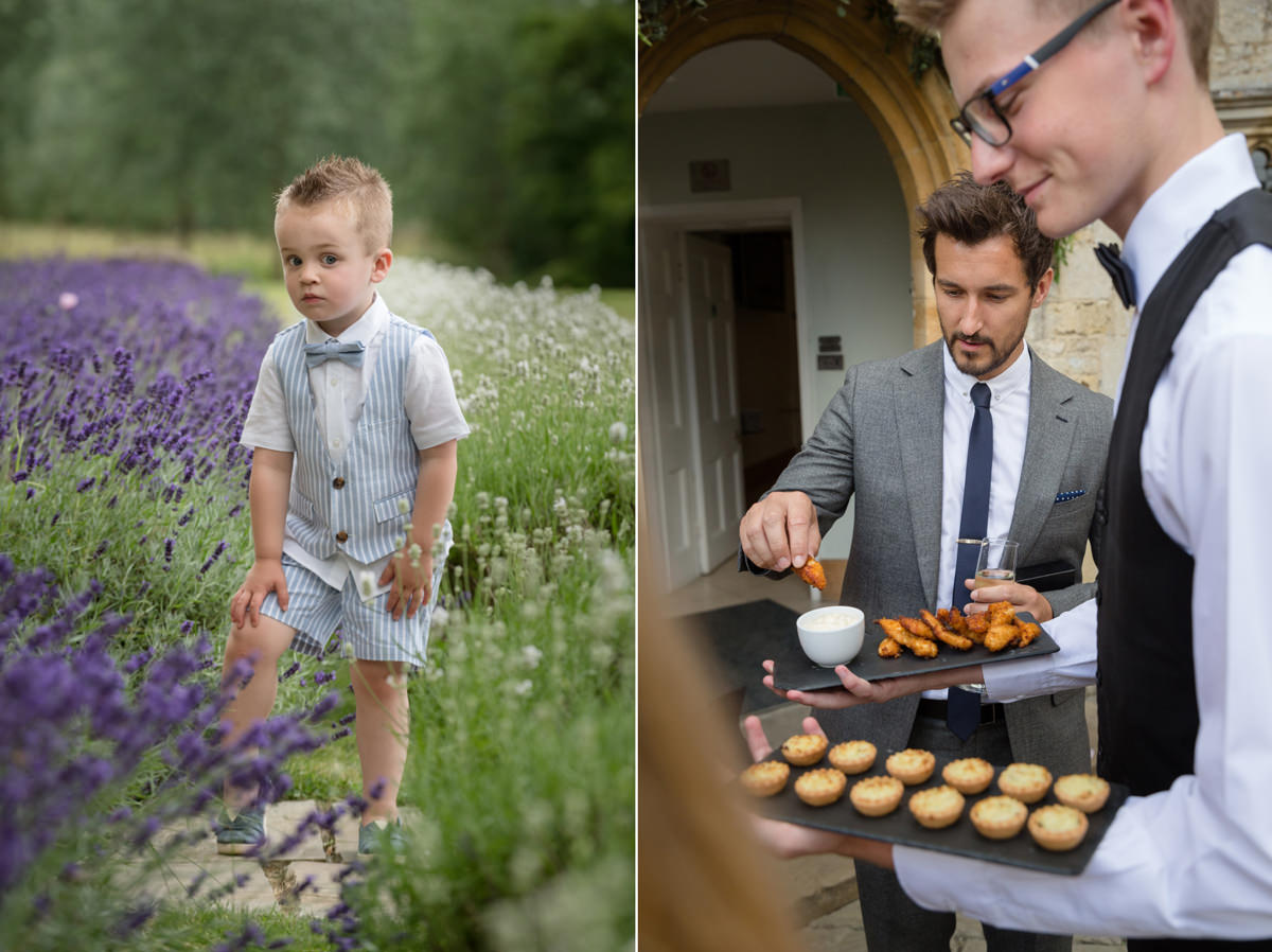 Canapes being served during the drinks reception at Notley Abbey