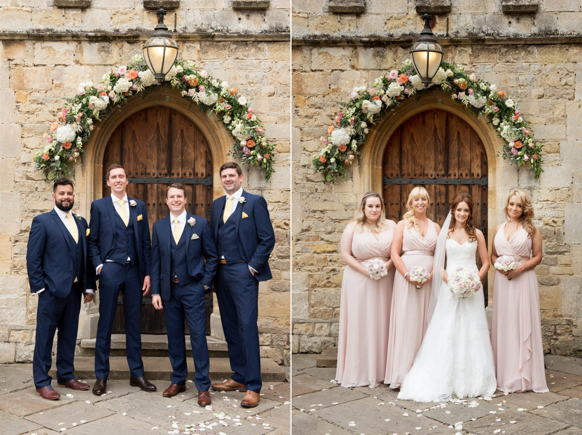 Group photos by the front door at Notley Abbey