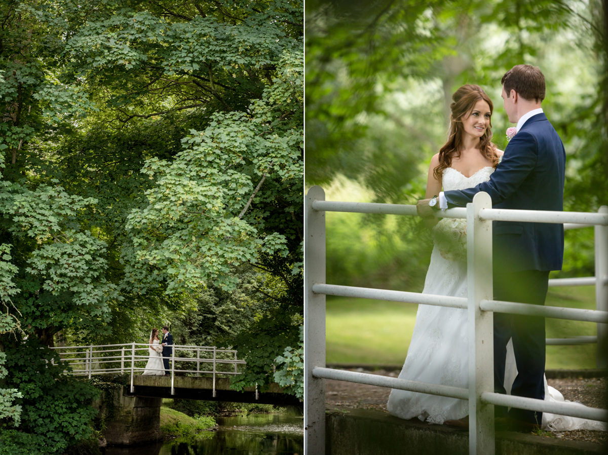 Bride and groom on the bridge at Notley Abbey