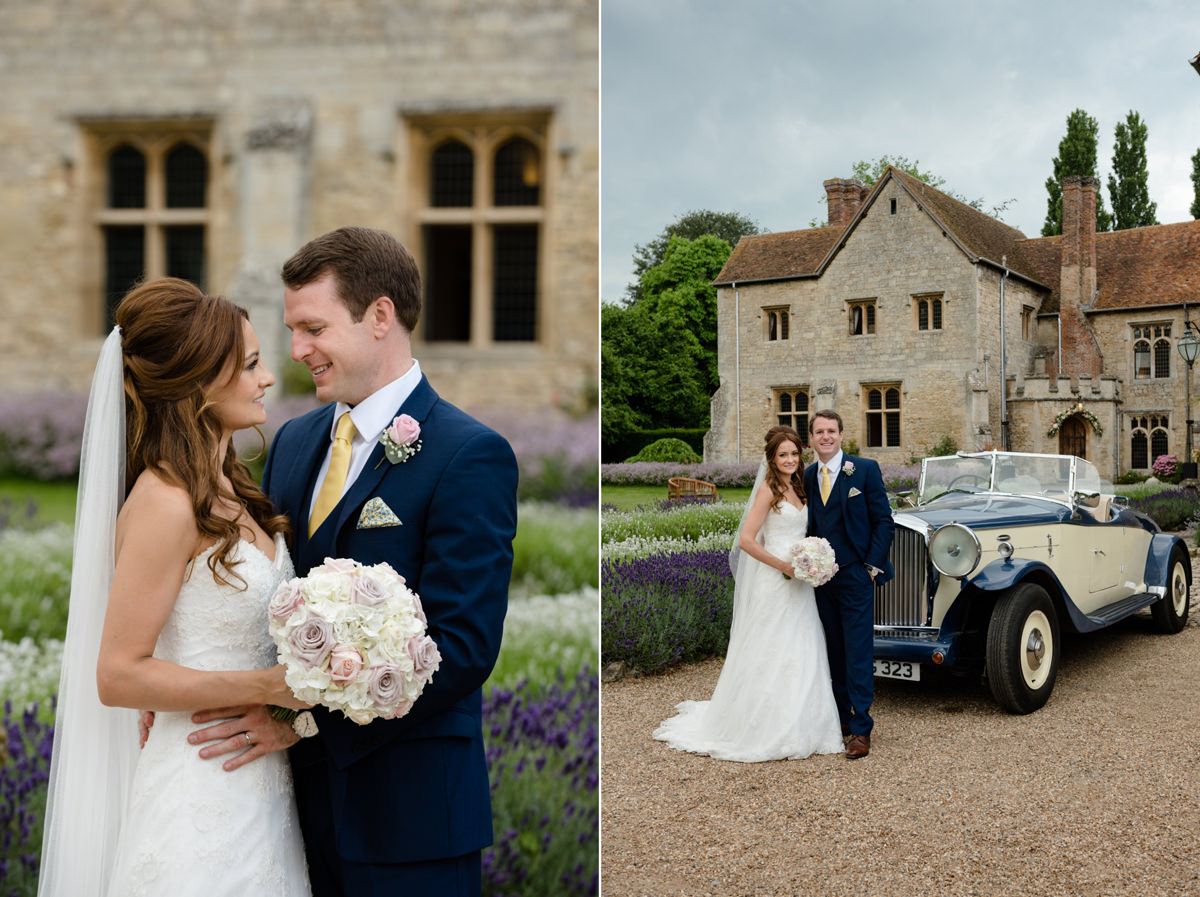 Portraits of the bride and groom in front of Notley Abbey