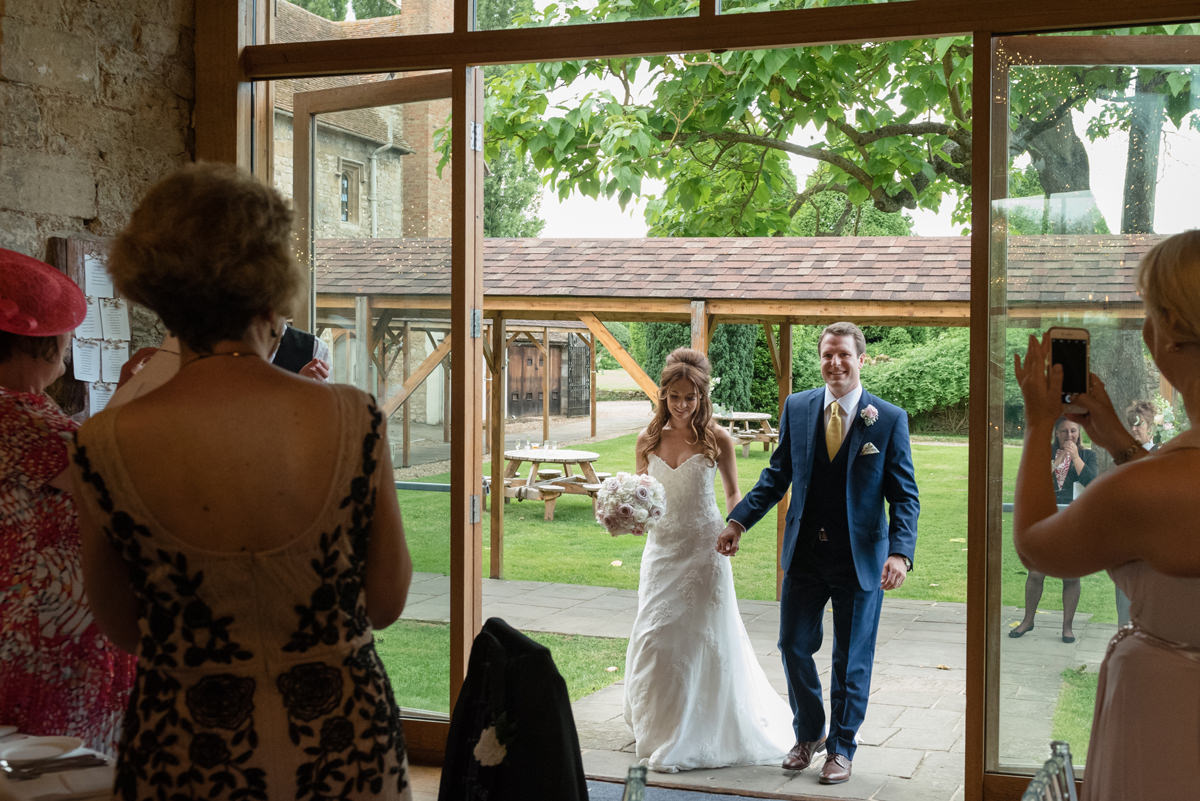 Bride and groom announced in for dinner at Notley Abbey