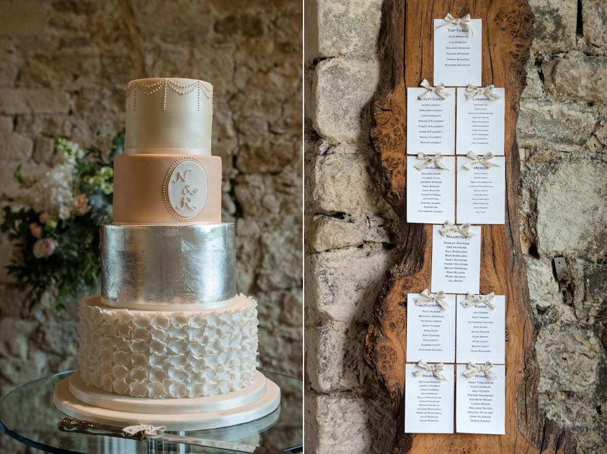 Wedding cake and table plan at Notley Abbey