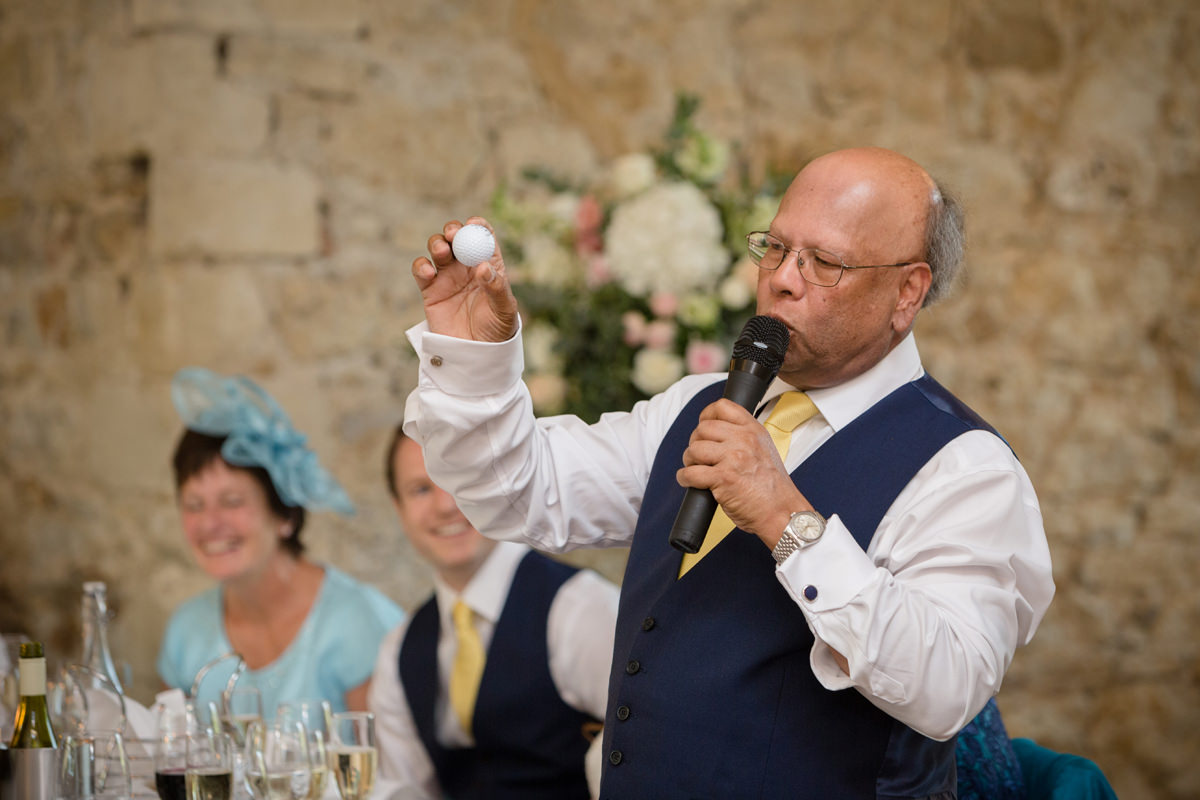Father of the bride joking about golf during his speech at Notley Abbey