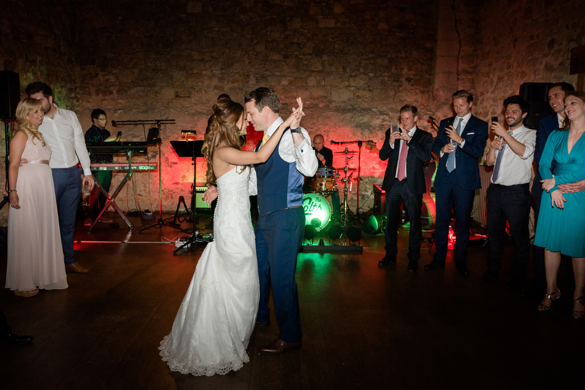 Bride and groom's first dance at Notley Abbey