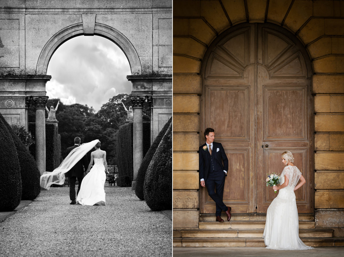 Portrait of bride and groom framed by an arch
