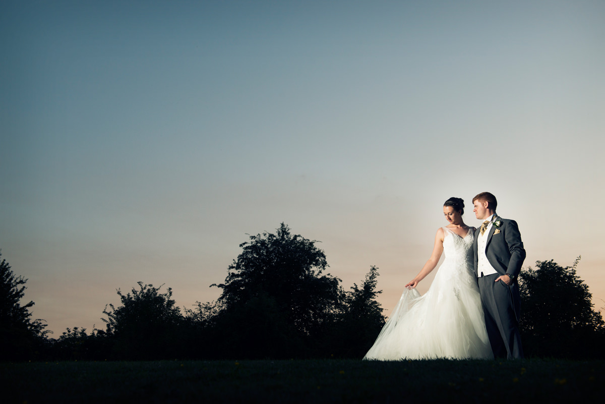 Bride and groom at sunset at Dodmoor House