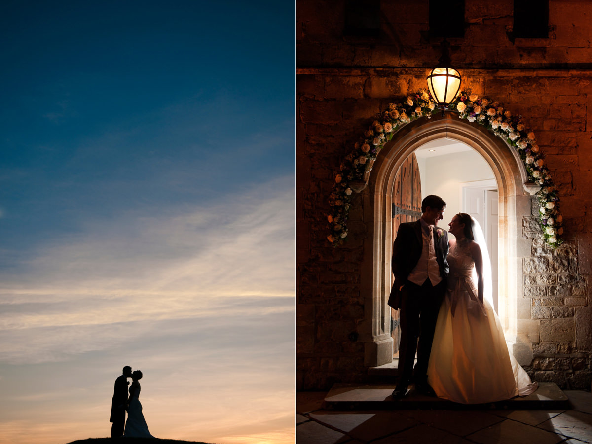 Sunset portraits of bride and groom