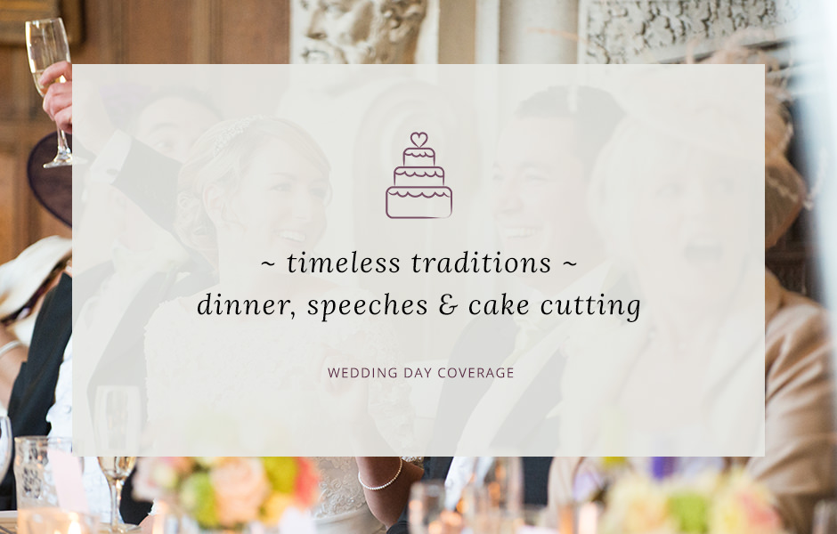 Header image for blog post about wedding breakfast, speeches and cake cutting photography