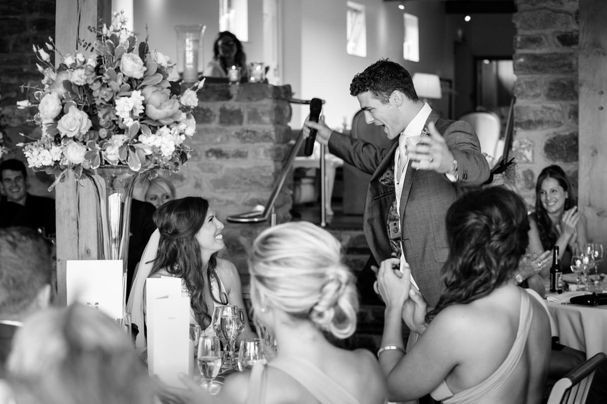 Groom praising his wife during the speeches