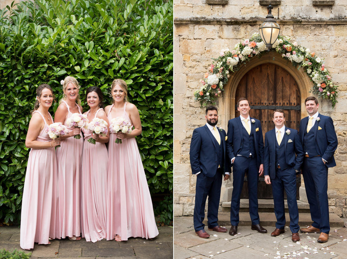 Left: four bridesmaids wearing Two Birds Bridesmaid dresses. Right: Groomsmen wearing navy suits
