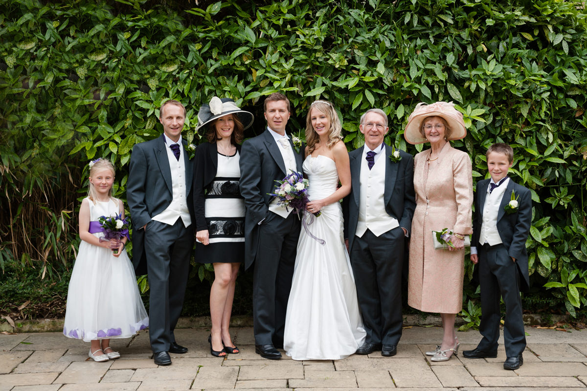 Bride and groom with groom's immediate family
