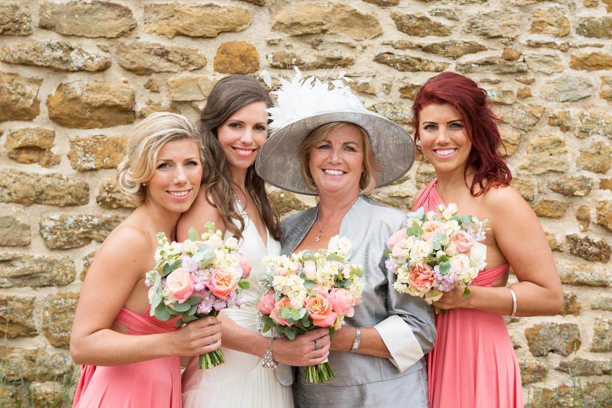 Bride with her mum and two sisters