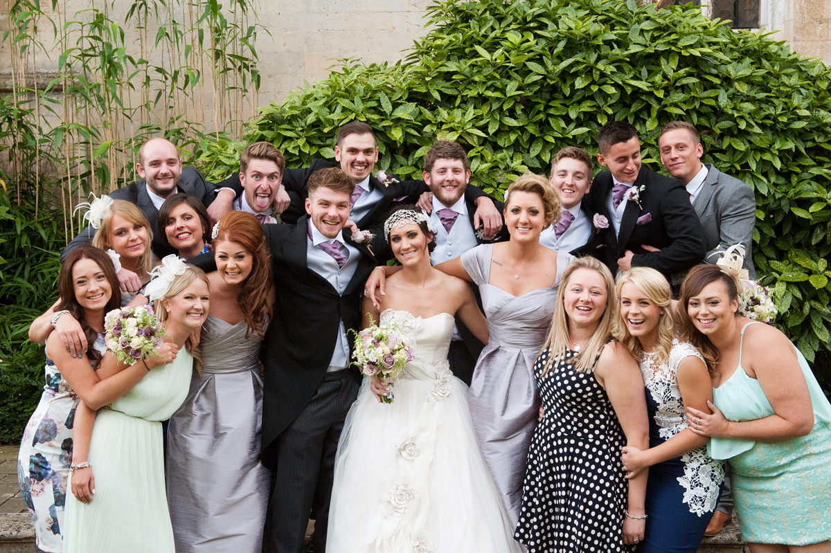Bride and groom with their friends