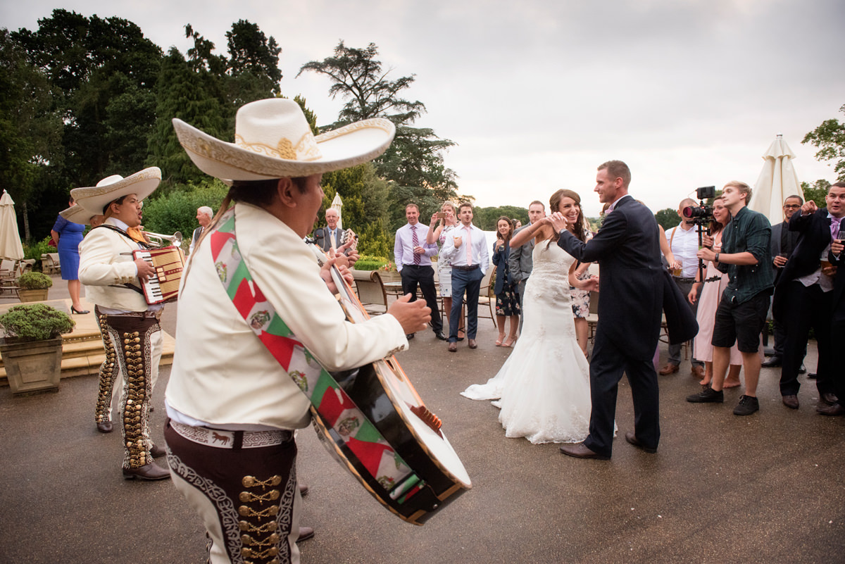 Mariachi wedding band performing outside at Kilworth House