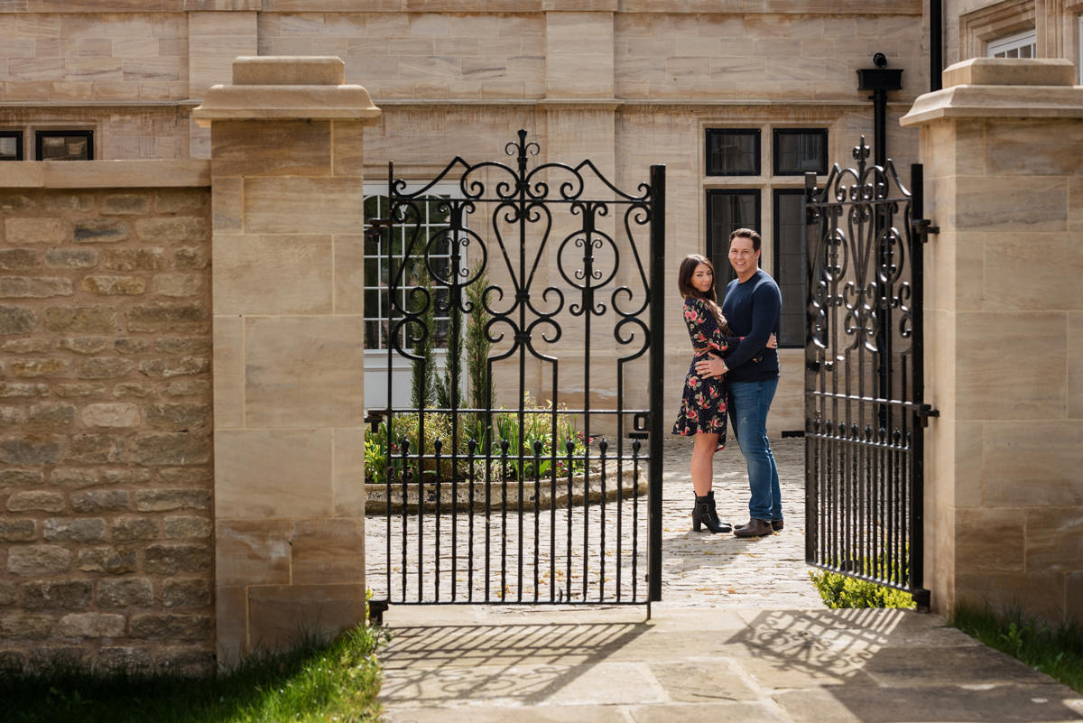 A pre-wedding portrait shoot outside the orangery at Rushton Hall in Northants