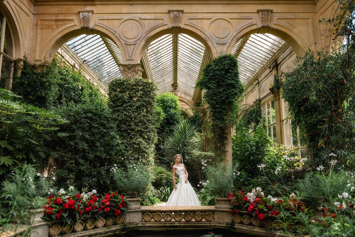 A bride in the orangery at Castle Ashby gardens