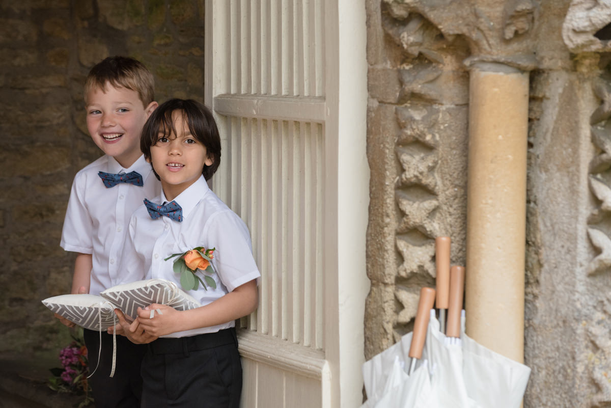 Pageboys outside All Saints church in Polebrook near Oundle