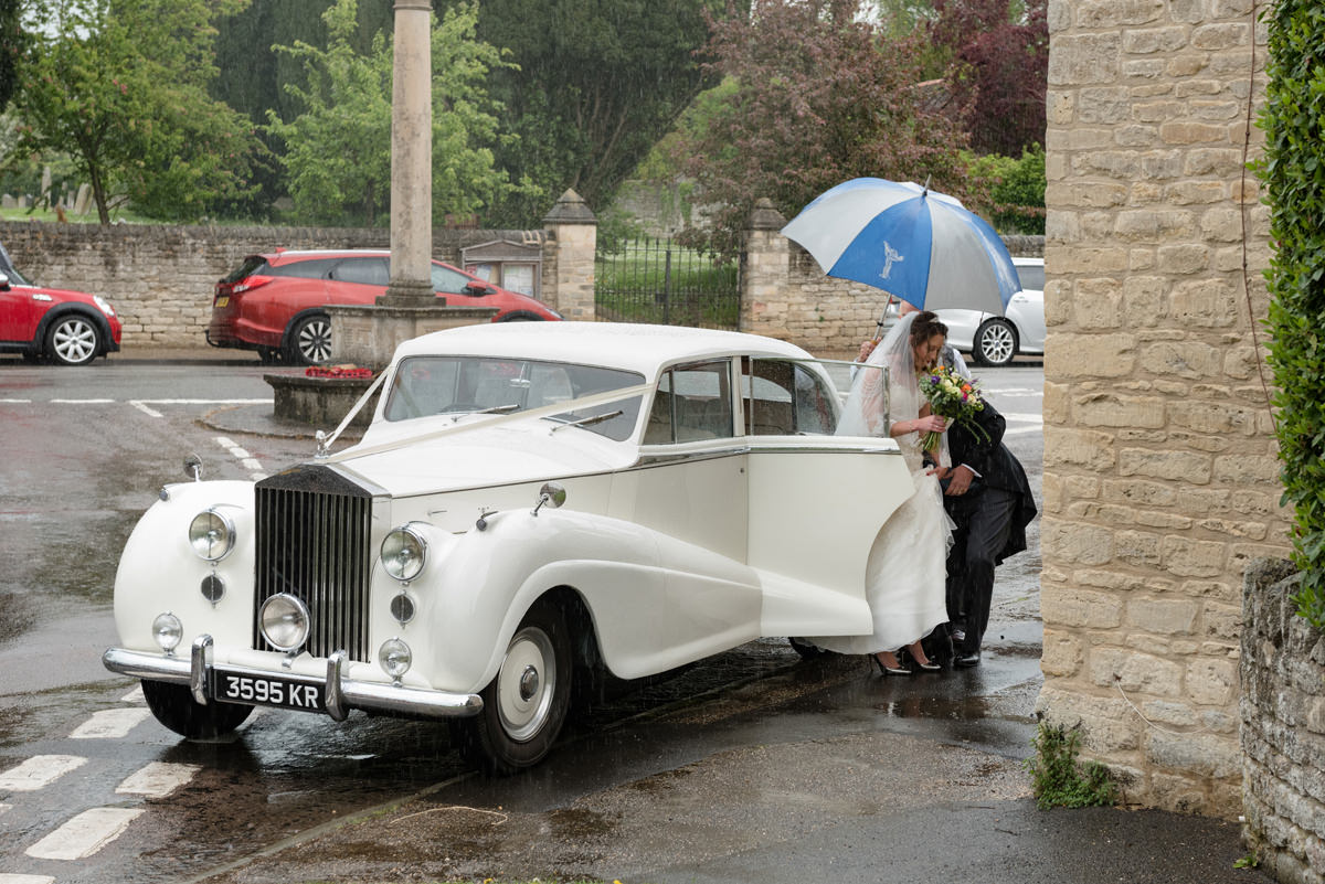 The bride arriving at All Saints church in Polebrook near Oundle