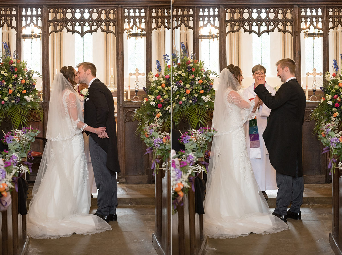 The first kiss at a wedding at All Saints church in Polebrook near Oundle