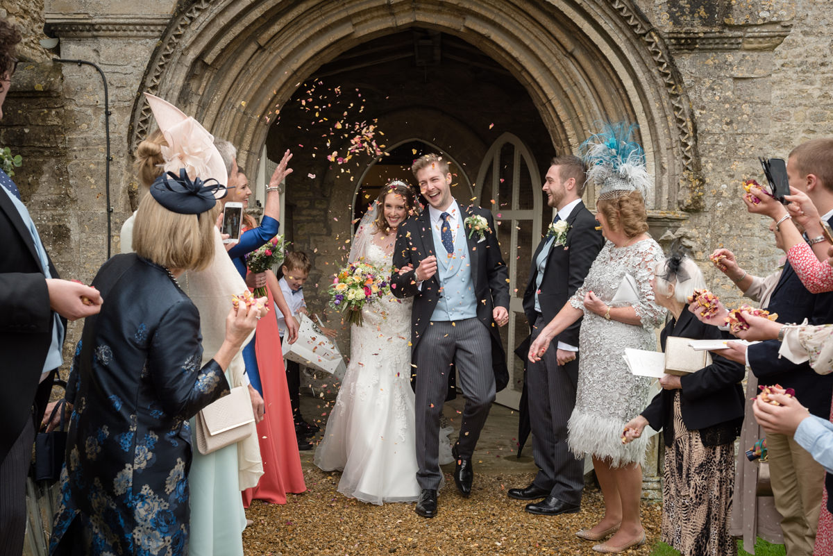 Confetti at All Saints church in Polebrook near Oundle